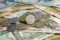 Moedas dos rublos de russo Foto de Stock