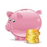 Moedas douradas com banco piggy Foto de Stock
