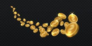 Moedas douradas de voo Chuva da moeda de ouro isolada Ilustração de vencimento do vetor do dinheiro 3d do jackpot ilustração royalty free