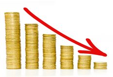 Moedas douradas/diminuição crescimento do negócio Fotos de Stock