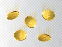 Moedas douradas Dinheiro no fundo transparente Imagem de Stock