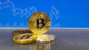 Moedas douradas do bitcoin isoladas em um fundo branco vídeos de arquivo