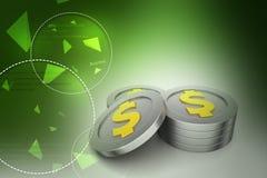 Moedas douradas do dólar Fotografia de Stock