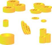 Moedas douradas do dólar ilustração royalty free