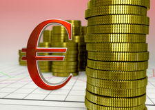 Moedas douradas e euro- símbolo vermelho Foto de Stock Royalty Free
