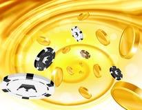 Moedas douradas e moedas do casino que voam para fora Foto de Stock