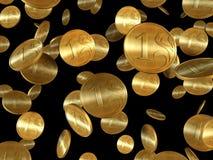 Moedas douradas isoladas Fotografia de Stock