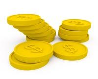 Moedas douradas no estilo dos desenhos animados Fotografia de Stock Royalty Free