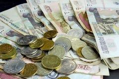 Moedas e cédulas da Federação Russa Fotografia de Stock Royalty Free
