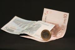 Moedas e cédulas da moeda das notas do euro Foto de Stock