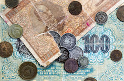 Moedas e cédulas expiradas velhas Moedas de URSS e moedas de prata Fotografia de Stock