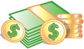 Moedas e dólares do ícone ilustração royalty free