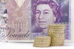 Moedas e dinheiro de papel Foto de Stock Royalty Free