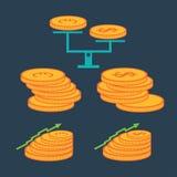 Moedas e elementos da finança Foto de Stock Royalty Free