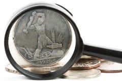 Moedas e lupa russian de Sarinnye Imagem de Stock Royalty Free