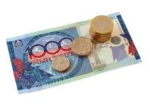 Moedas e notas de banco de Kazakhstan, a isolação Fotografia de Stock Royalty Free