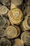 Moedas empilhadas do peso mexicano Fotos de Stock Royalty Free