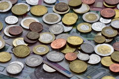 Moedas EUR e PLN Fotografia de Stock Royalty Free