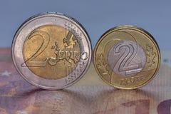 Moedas EUR e PLN Foto de Stock Royalty Free