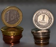 Moedas EUR e PLN Fotos de Stock Royalty Free