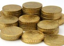 Moedas européias da moeda Foto de Stock Royalty Free