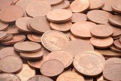Moedas europeias com um, dois e cinco centavos do euro Imagem de Stock Royalty Free