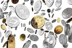 Moedas físicas do conceito do cryptocurrency NEO dourado ilustração do vetor