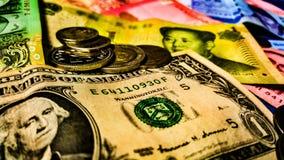 Moedas financeiras do mundo Fotos de Stock