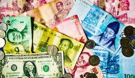 Moedas financeiras do mundo Fotografia de Stock