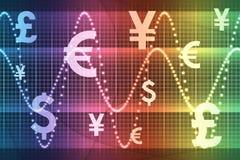 Moedas globais do sector financeiro do arco-íris Fotografia de Stock Royalty Free