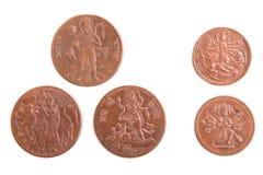Moedas indianas com a imagem de deuses antigos Imagem de Stock