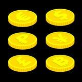 moedas isométricas do vetor 3d no fundo preto Imagens de Stock Royalty Free