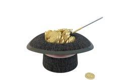 Moedas mágicas do chapéu e de ouro Fotografia de Stock Royalty Free