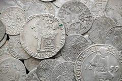 Moedas medievais de prata antigas Foto de Stock