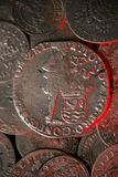 Moedas medievais de prata antigas Fotos de Stock Royalty Free