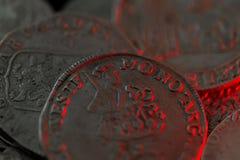 Moedas medievais de prata antigas Fotos de Stock