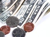 Moedas na moeda dos E.U. Imagem de Stock Royalty Free