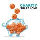 Moedas no formulário da cara feliz que flutua e que deposita no amor da parte da caridade do mealheiro do dinheiro Fotografia de Stock