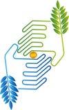 Moedas no logotipo das mãos ilustração do vetor