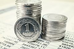 Moedas polonesas do zloty Fotos de Stock