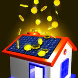 Moedas que caem na casa que mostra o dinheiro extra e a economia melhorada Imagens de Stock