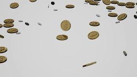 Moedas que caem para baixo animação 3D video estoque