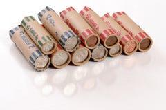 Moedas roladas dos E.U. Fotos de Stock Royalty Free