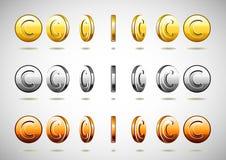 Moedas rotatórias diferentes Ilustração Stock