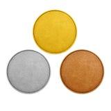 Moedas vazias, cor das medalhas dos jogos Imagem de Stock
