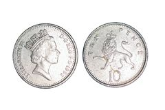 Moedas velhas do ` dos países, 10 moedas de um centavo fotografia de stock
