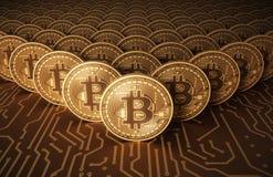Moedas virtuais Bitcoins na placa de circuito impresso Foto de Stock