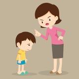 Moeder boos bij haar zoon en schuld Royalty-vrije Stock Afbeeldingen