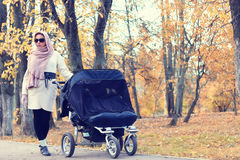 Moeder in de herfst van de parkwandelwagen Royalty-vrije Stock Afbeelding