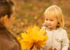 Moeder die baby gevallen bladeren toont Stock Afbeelding
